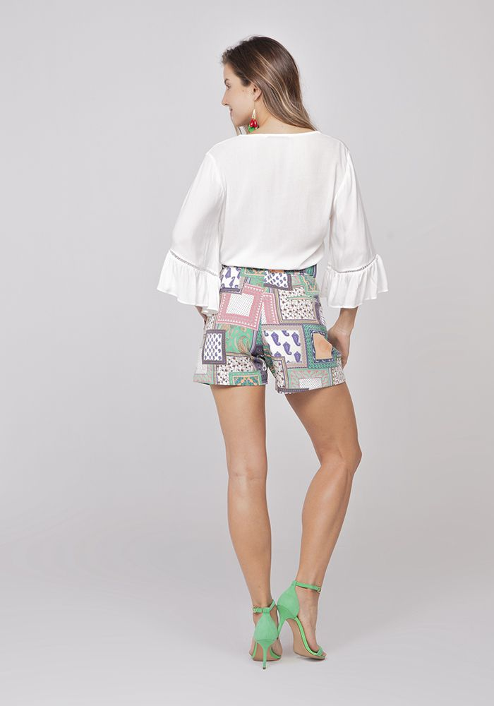 Shorts Com Cinto Alfaiataria Patchwork