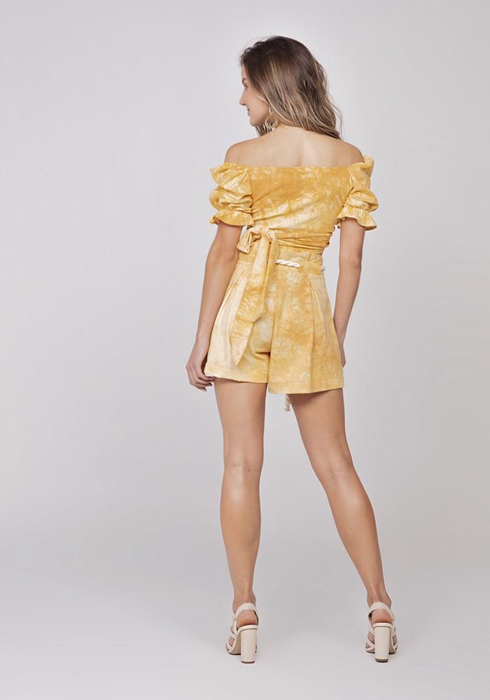 Shorts Com Cordão Linho Tie Dye