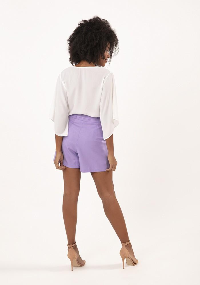 Shorts com Tomas Linho Rayon Classic Lilás