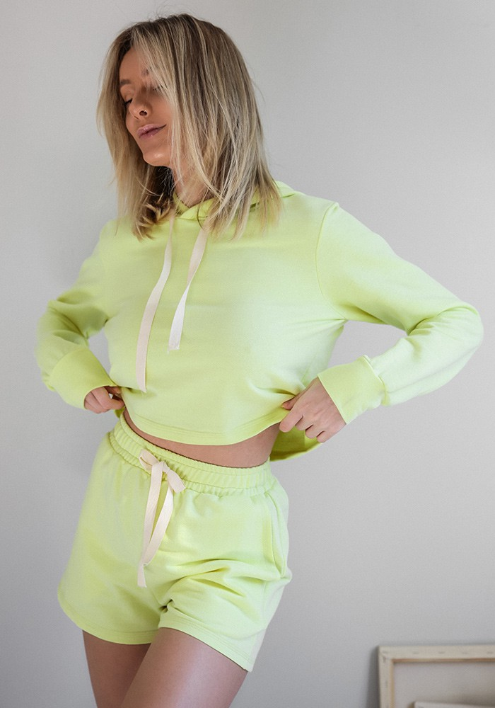 Shorts Moletom Amarelo Neon