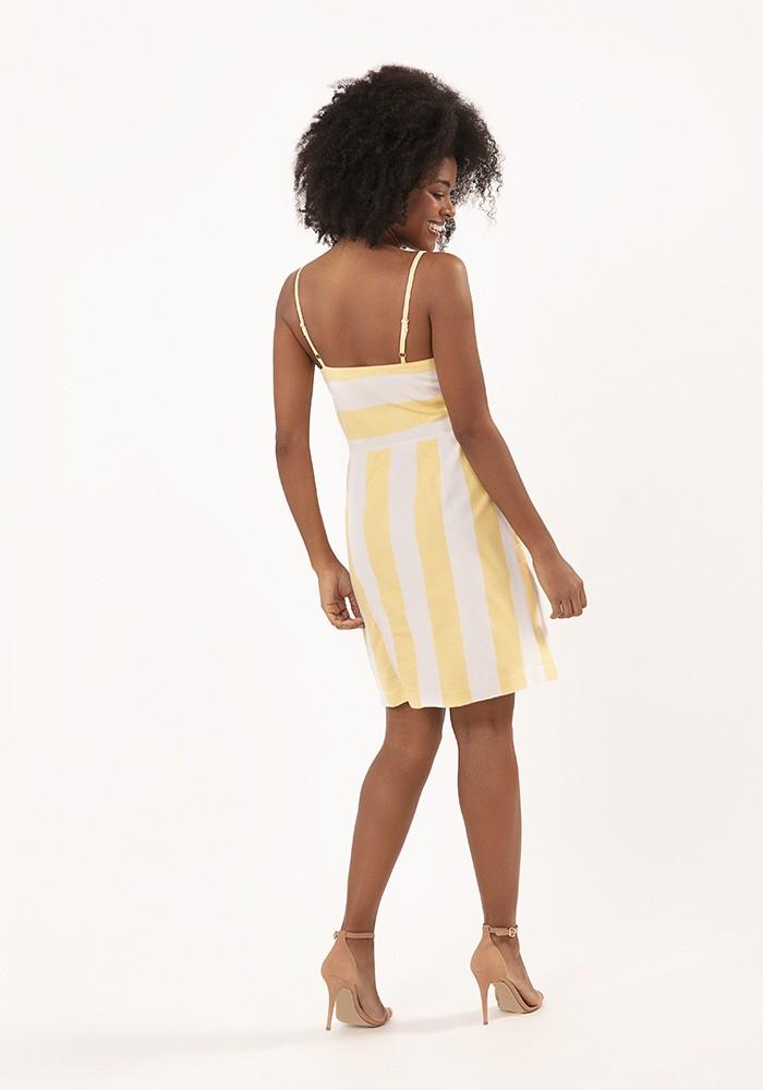Vestido Alça com Amarração Eco Stripe