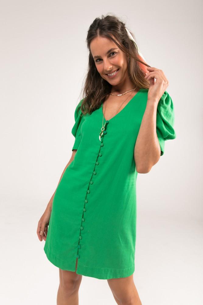 Vestido Botões Forrados Linho Eco Verde