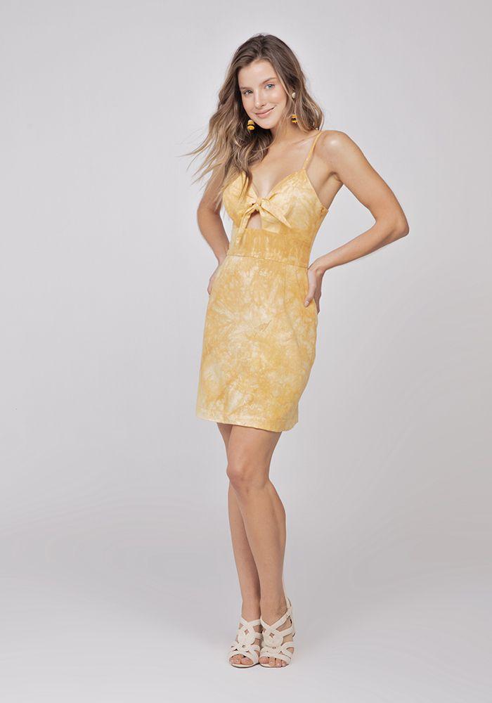 Vestido Com Amarração Frente Linho Tie Dye