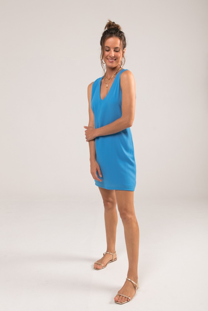 Vestido Curto Chiffon Fluid Azul