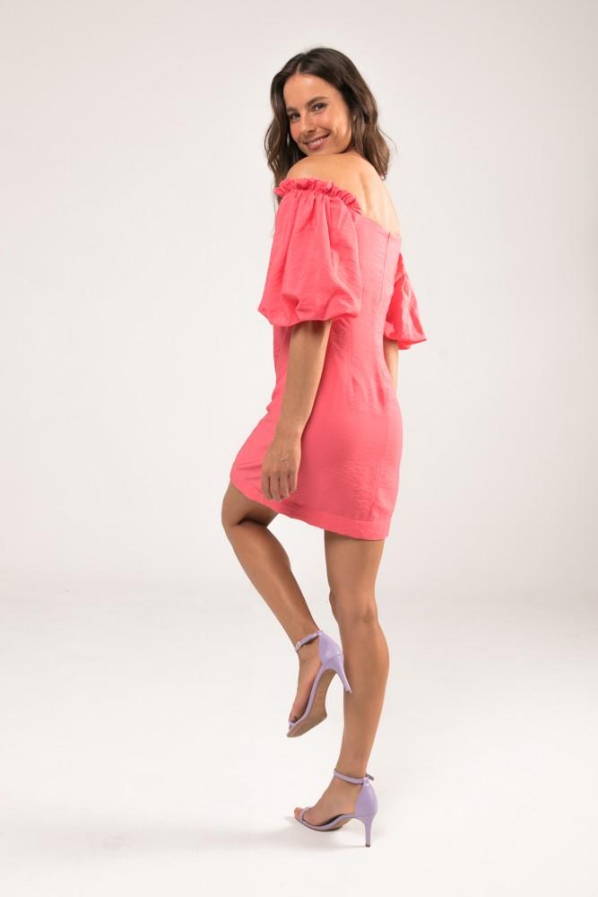 Vestido Jasmine Manga Bufante Rosa