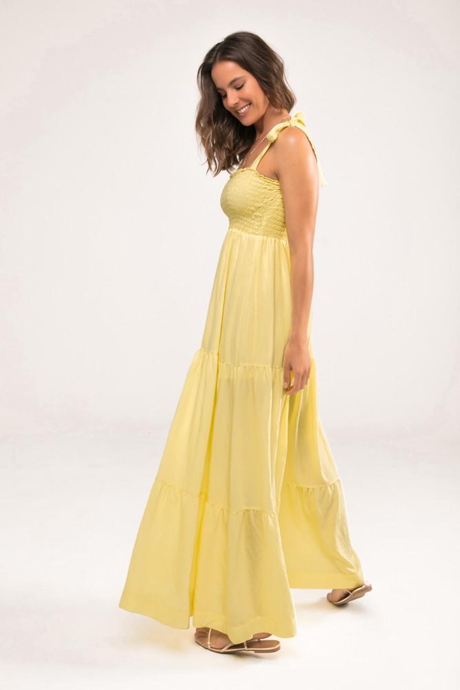 Vestido Longo com Lastex Jasmine Amarelo
