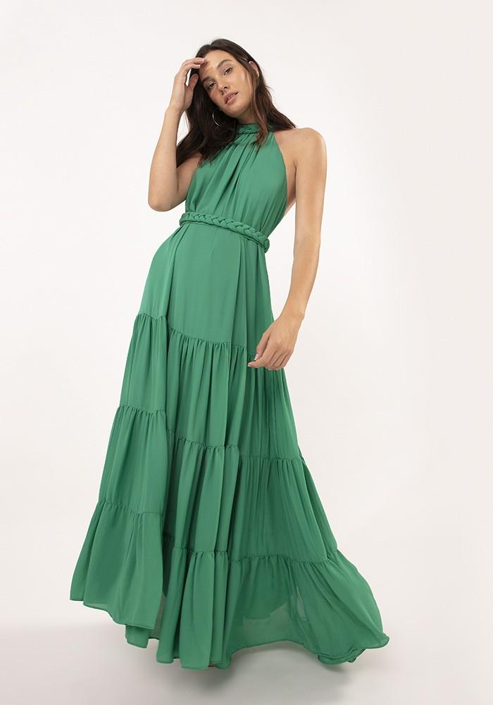 Vestido Longo com Trança Chiffon Fluid Verde