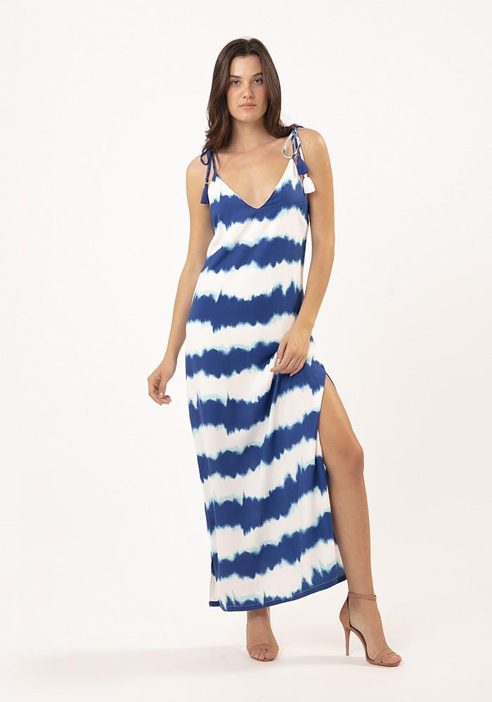 Vestido Longo Milan Tie Dye Azul