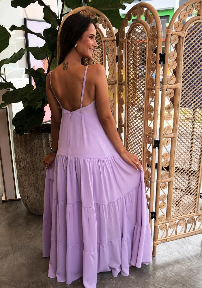 Vestido Longo Silk Touch Lilás