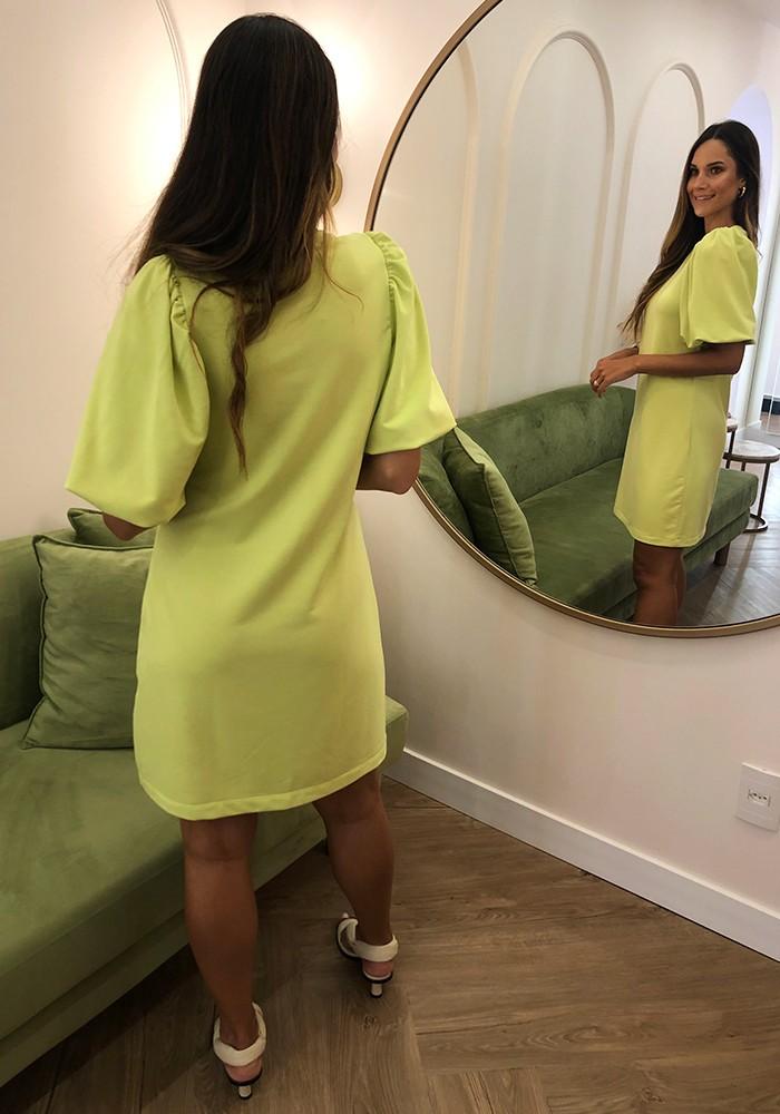 Vestido Manga Balonê Verde Lima
