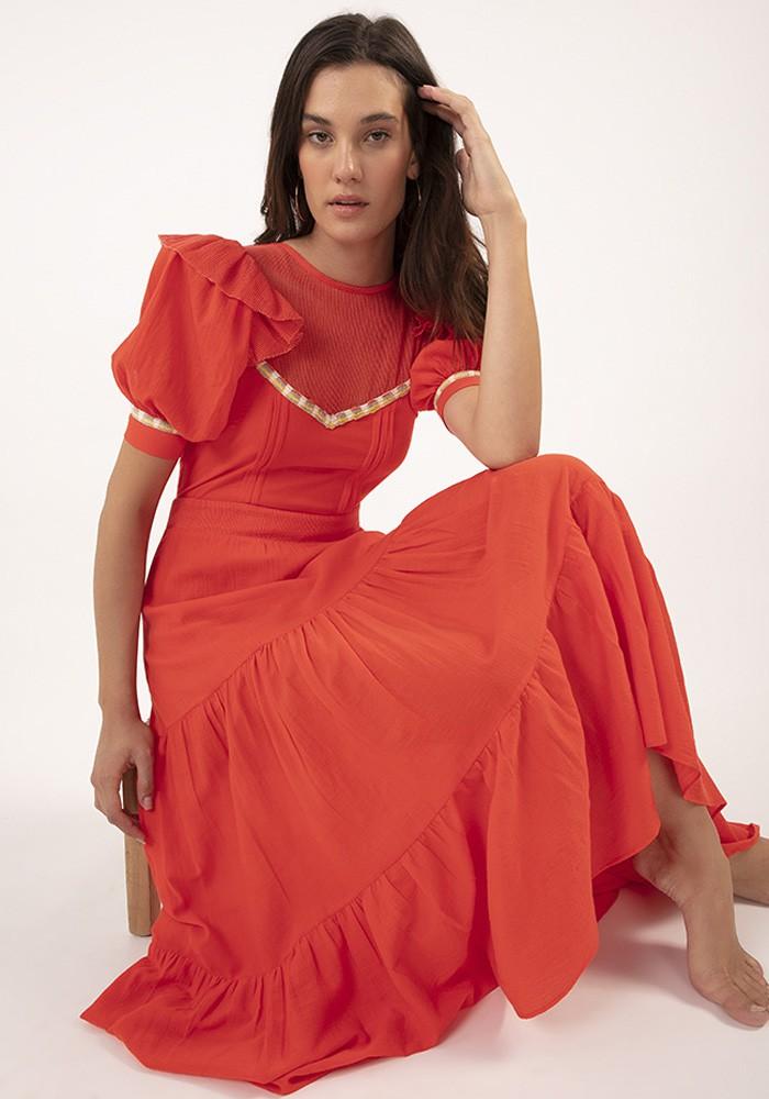 Vestido Midi Castila Coral