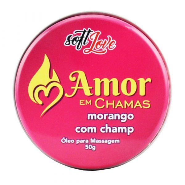 VELA AMOR EM CHAMAS BEIJÁVEL MORANGO COM CHAMPAGNE 50G SOFT LOVE