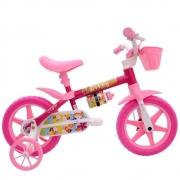 Bicicleta aro 12 feminina lily com cesta e rodinha
