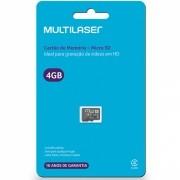 Cartão de Memória Classe 4 4GB Preto Multilaser