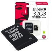 Cartão de Memória Kingston Canvas Select MicroSD 32GB Classe 10 Com Adaptador