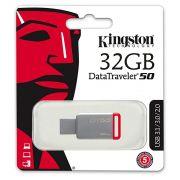 Pendrive Kingston Datatraveler50 32gb Usb 3.1/3.0/2.0 - Prata/Vermelho