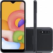 "Smartphone Samsung Galaxy A01 32GB 4G Android 10.0 Tela 5.7"" Octa-Core Câmera 13MP - Preto"
