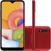 """Smartphone Samsung Galaxy A01 32GB 4G Android 10.0 Tela 5.7"""" Octa-Core Câmera 13MP - Vermelho"""