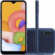 "Smartphone Samsung Galaxy A01 32GB 4G Android 10.0 Tela 5.7"" Octa-Core Câmera 13MP - Azul"
