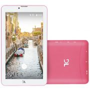 "Tablet DL Mobi Tab TX384PIN Wi-Fi 8GB Android 7 Tela 7"" Câmera Frontal 0.3MP Rosa e Branco"