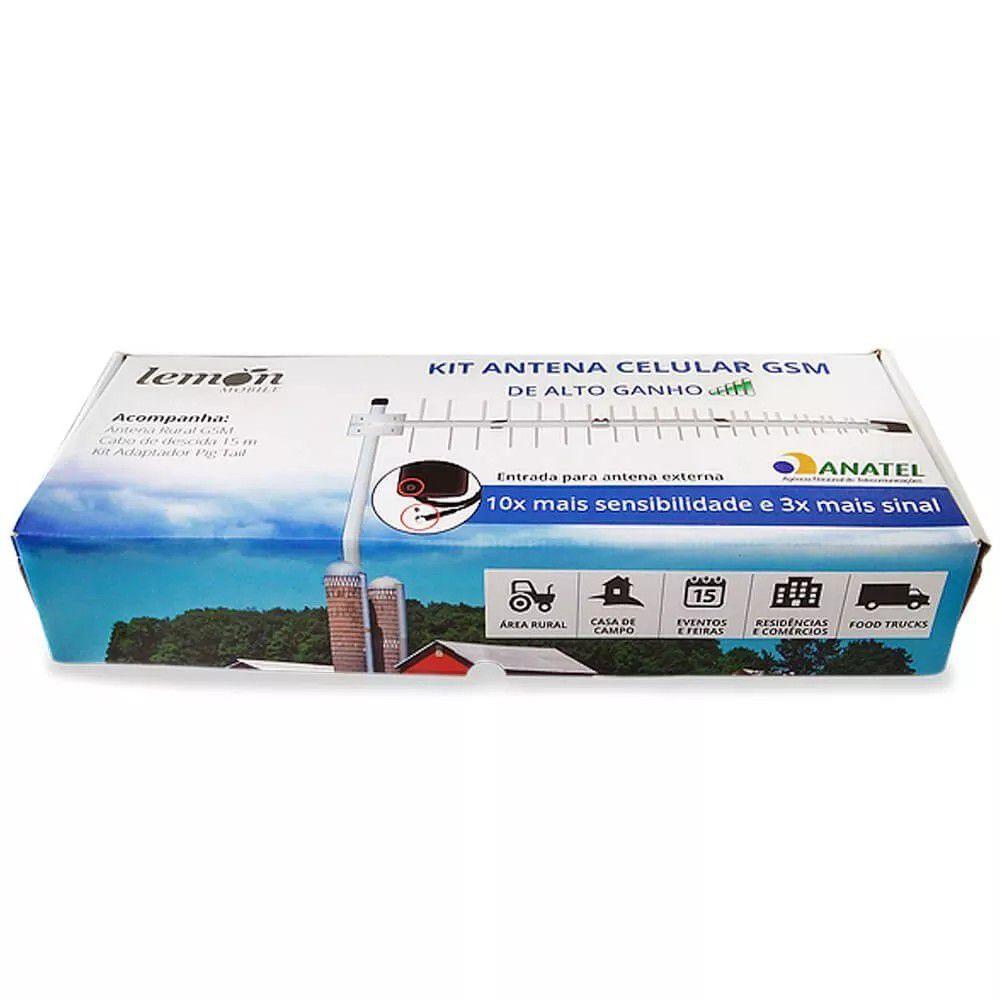 Kit Antena Celular Gsm Quadri Band 15dBi Lemon de Alto Ganho Cabo de 15 Metros