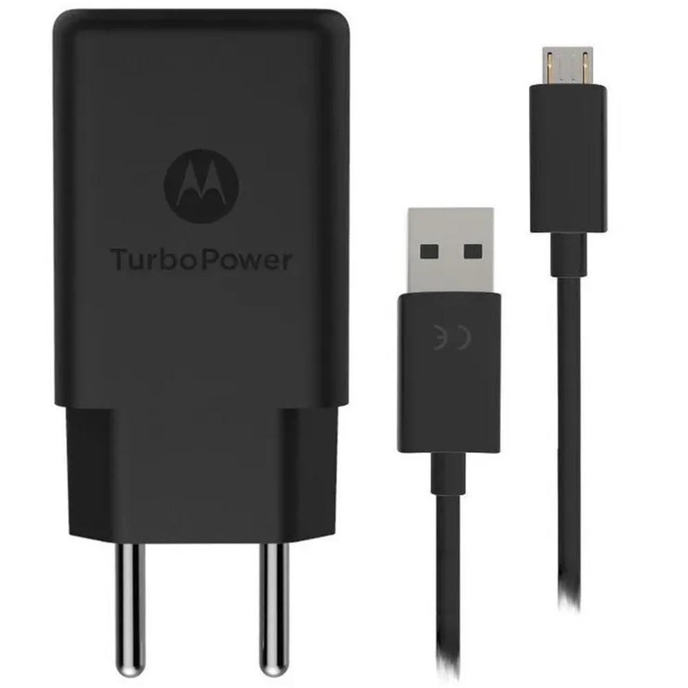 Carregador Original Motorola Turbo Power Qc3.0 Micro USB 10W - Carrega Rápido - Preto