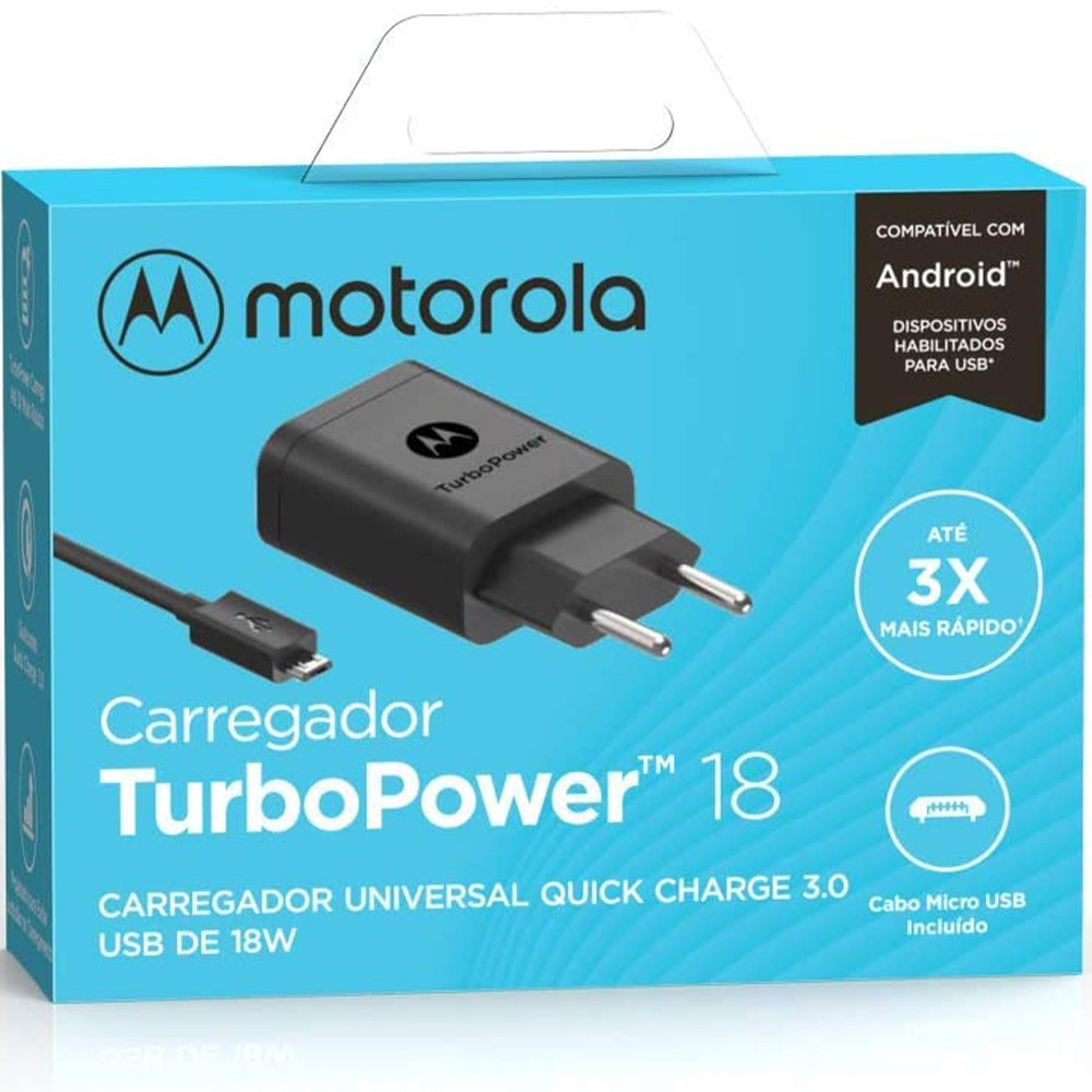 Carregador Original Motorola Turbo Power Qc3.0 Micro USB - Carrega Rápido - Preto