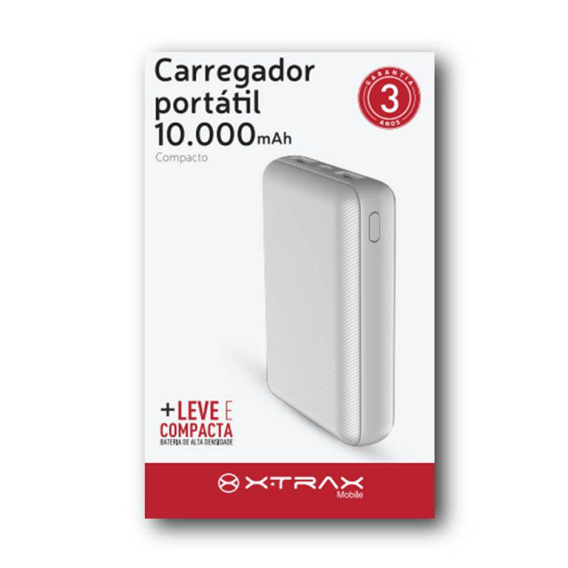 Carregador Portátil Compacto 10.000mAh Xtrax - Branco