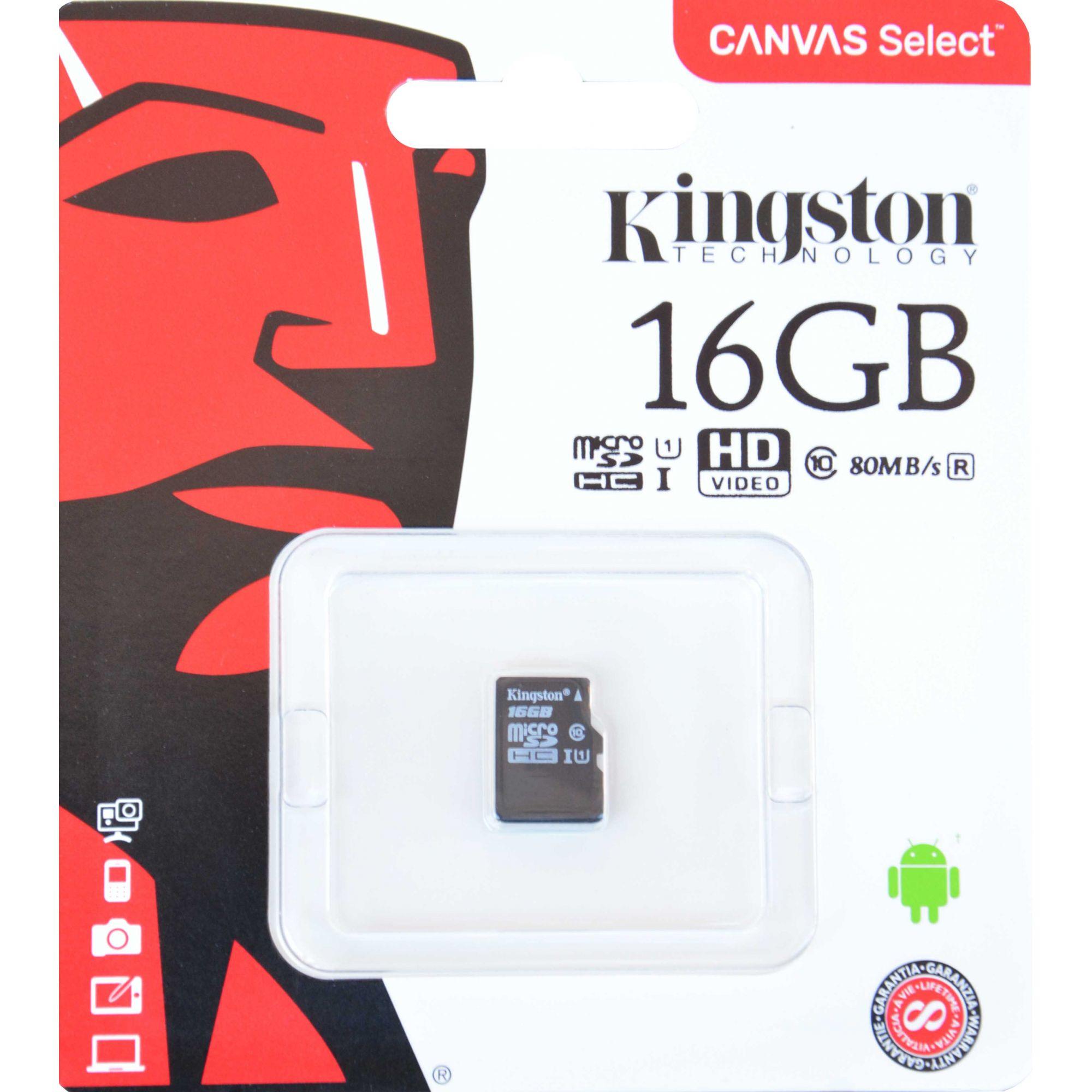 Cartão de Memória Kingston Canvas Select MicroSD 16GB Classe 10 - SDCS/16GB