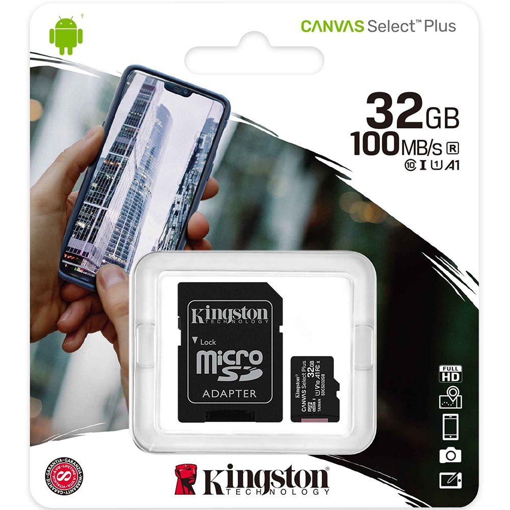 Cartão de Memória KINGSTON Micro SD 32GB Classe 10 Com Adaptador SD Canvas Select Plus