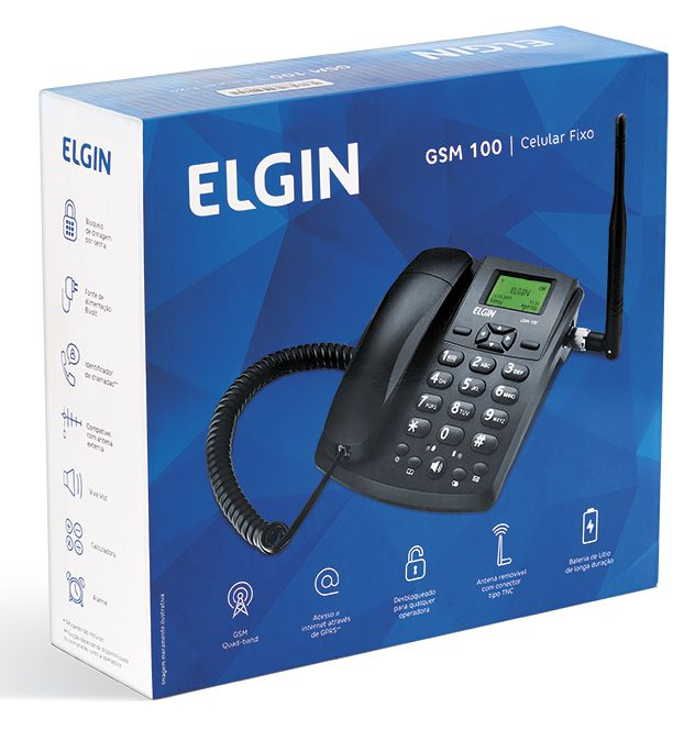 Celular de Mesa Elgin, GSM, Quad band, Single Chip - Preto GSM100