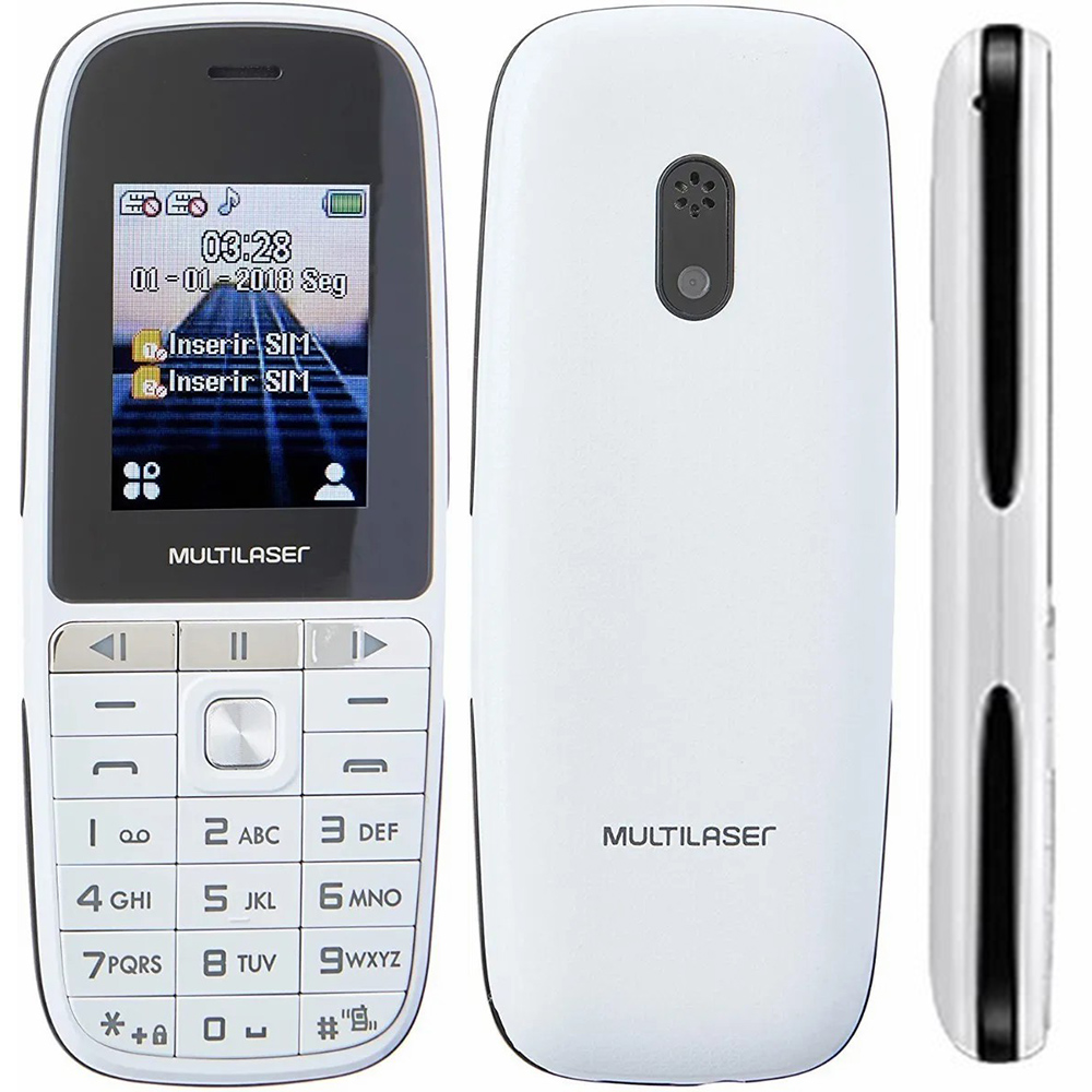 Celular Multilaser Up Play Dual Chip, Câmera, MP3, Rádio FM, Bluetooth, Lanterna - Branco - P9077