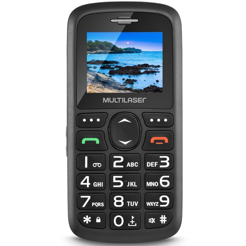 Celular Multilaser Vita, Tela 1.8´, Câmera, Alarme, Botão para Emergência, Lanterna, Dual Chip, Desbloqueado, Preto