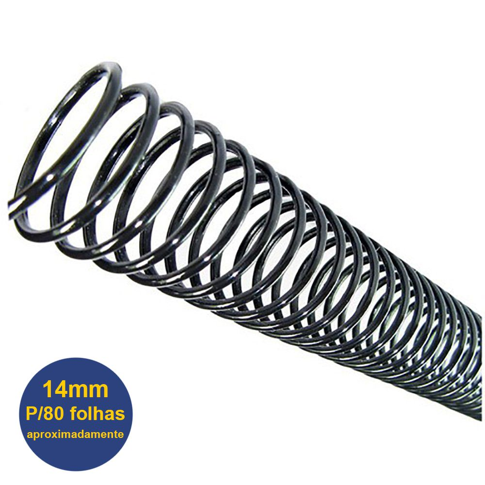 Espiral Para Encadernação Tamanho Ofício e A4 14mm P/80 Folhas Pacote Com 100 Unidades - Preto