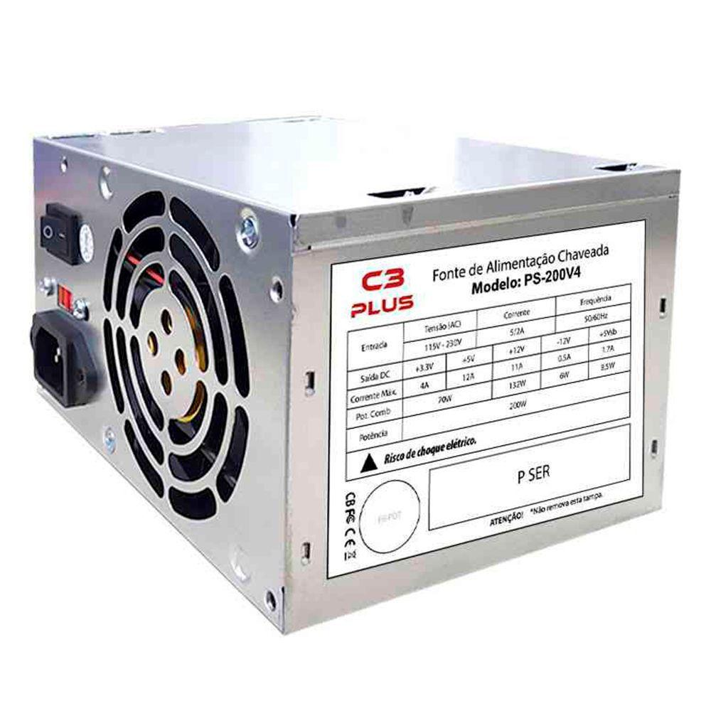 Fonte De Energia Pc C3 Tech Ps-200v4 Atx 200w Bivolt S/cabo