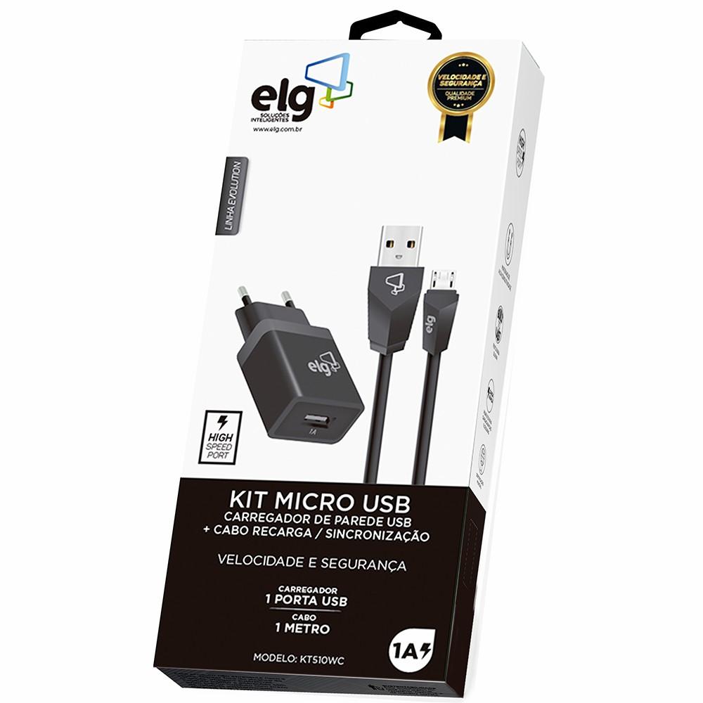 Kit Carregador de parede ELG KT510WC Micro USB