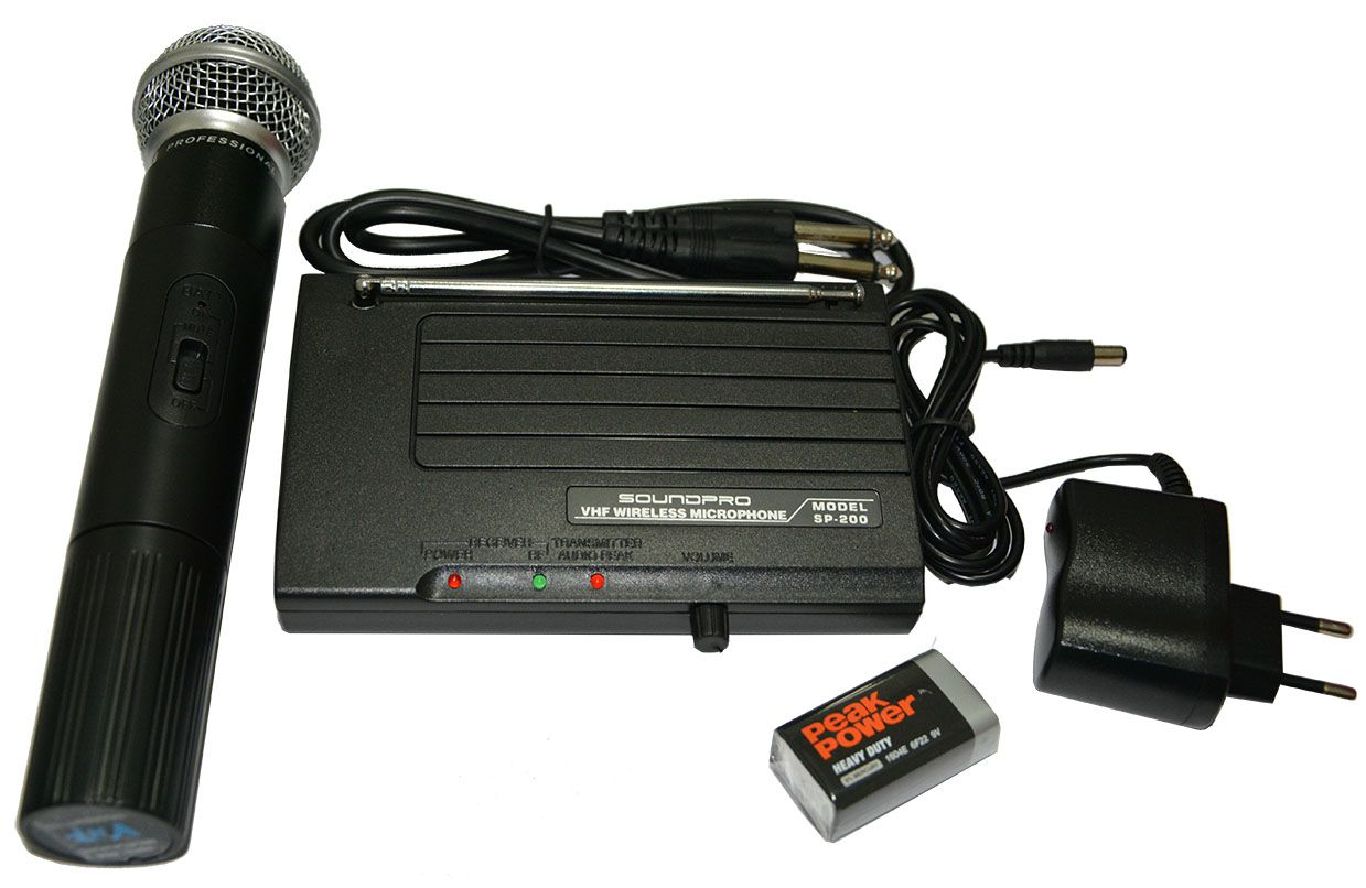 Microfone Profissional sem fio Soundpro SP200 VHF