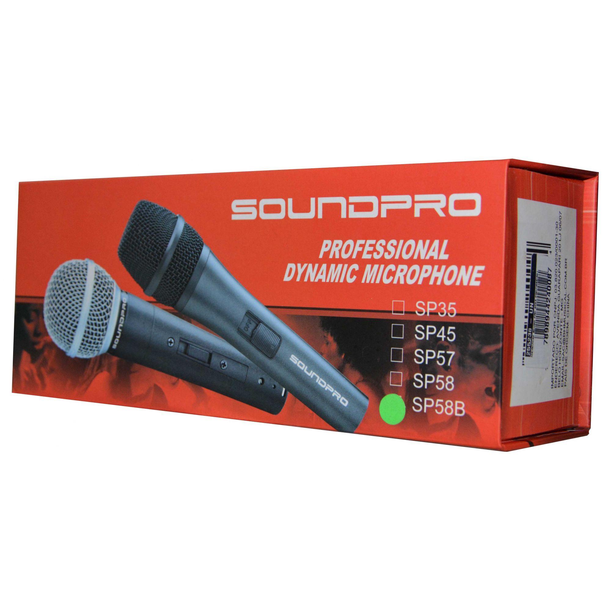 Microfone Profissional Soundpro Dinâmico SP58B