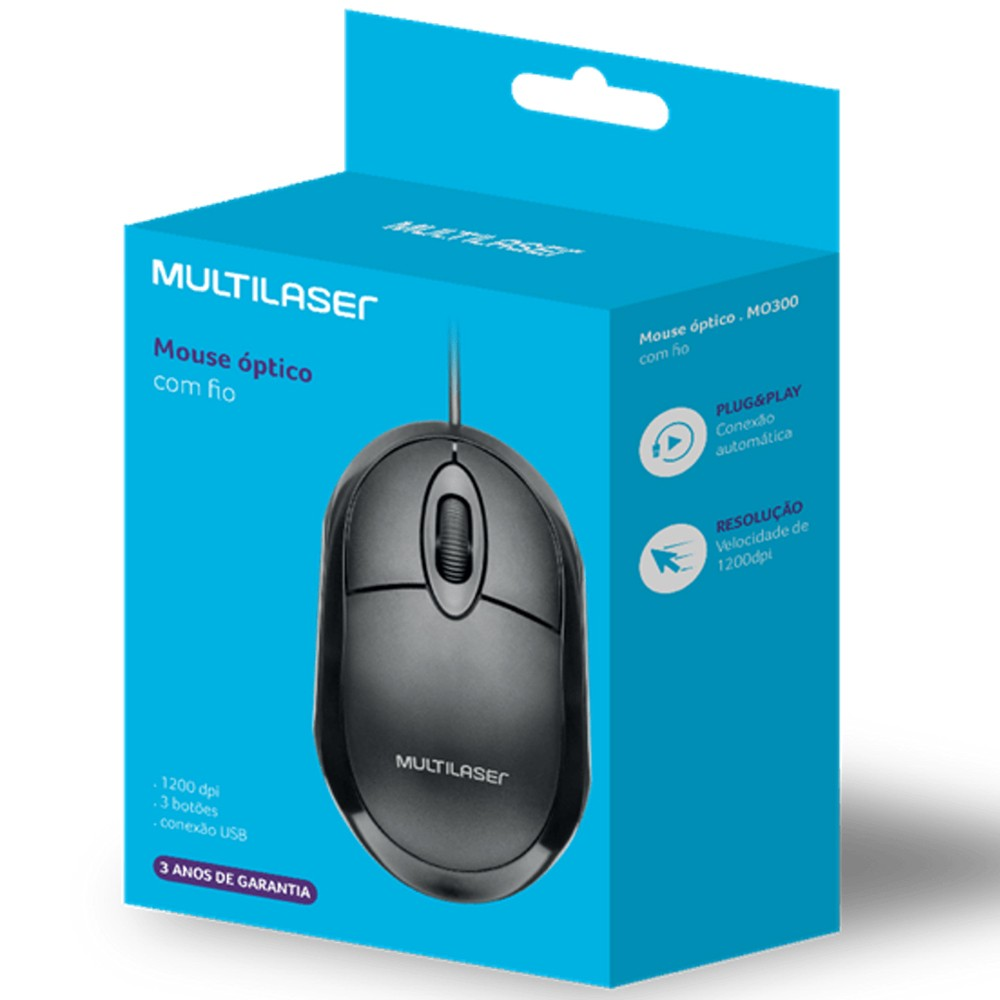 Mouse Com Fio Classic Box Óptico Full Black USB Multilaser - MO300