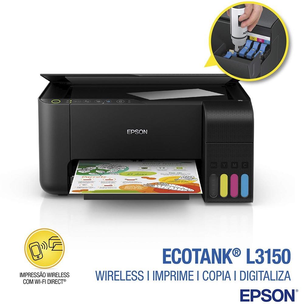 Multifuncional Tanque de Tinta Epson EcoTank L3150 Wireless - Impressora, Copiadora, Scanner
