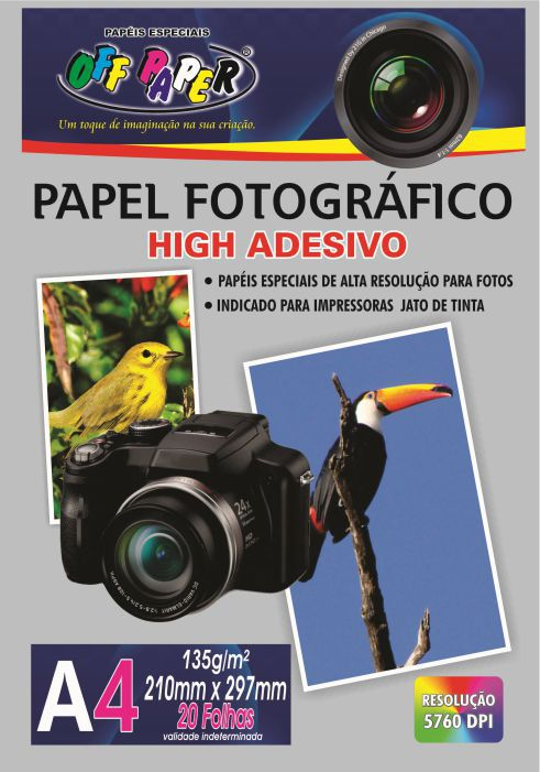 Papel Fotográfico High Adesivo 135g A4 20 Folhas Off Paper