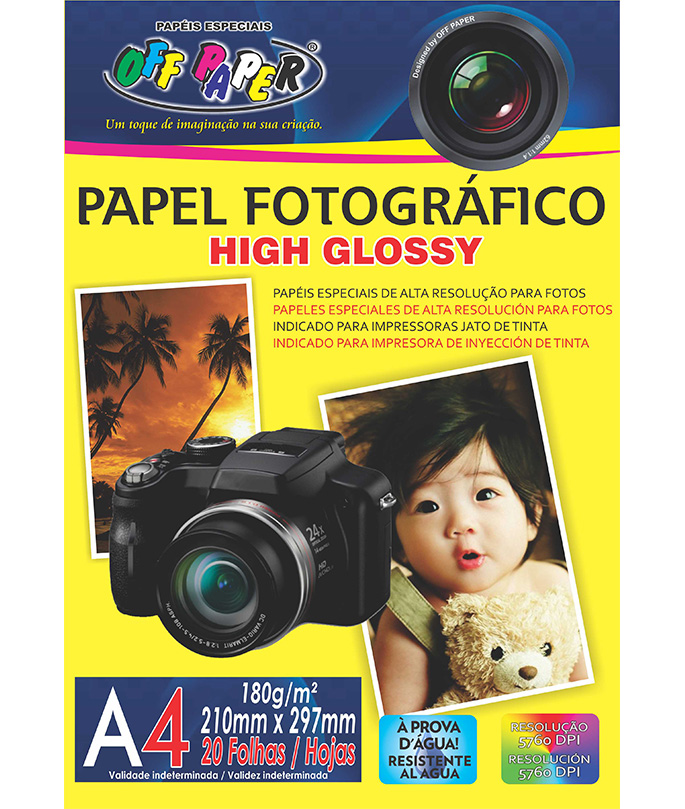 Papel Fotográfico High Glossy 180g A4 20 Folhas Off Paper