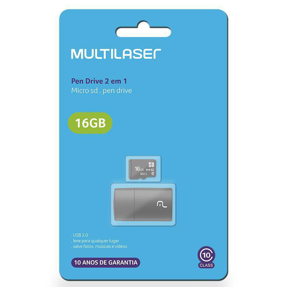 Pen drive 2 em 1 Classe 10 Micro SD 16GB Multilaser - MC162