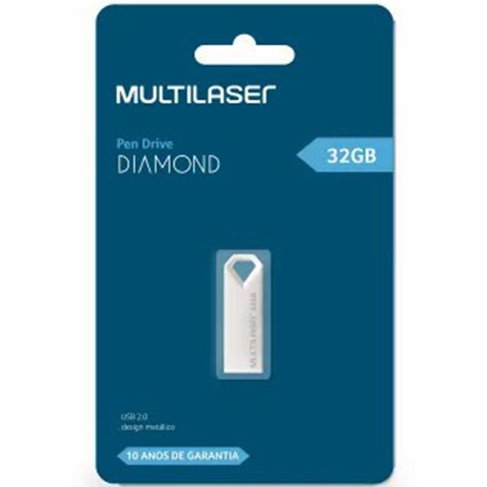 Pen Drive Diamond, 32GB, Metálico, PD851 - Multilaser