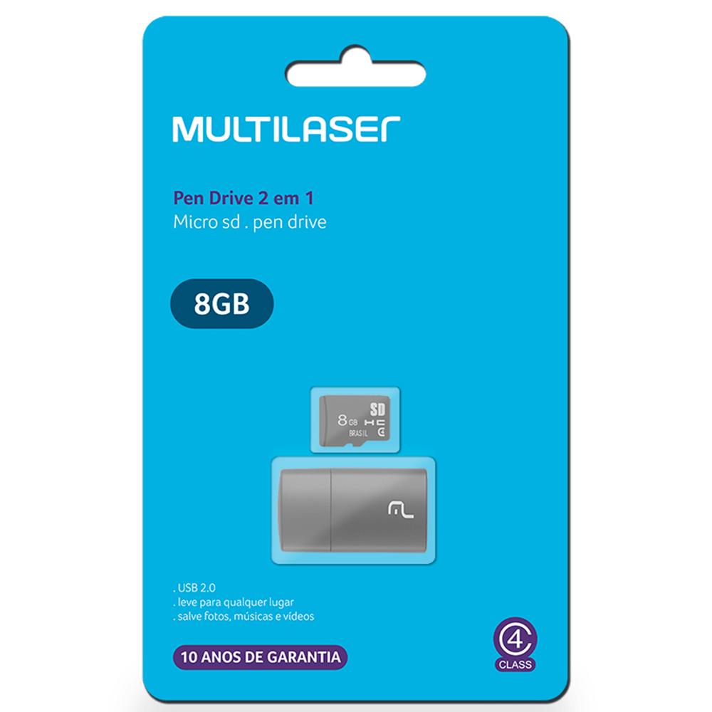 Pen Drive Multilaser MC161 2 Em 1 Cartão Micro SD Leitor USB 8GB