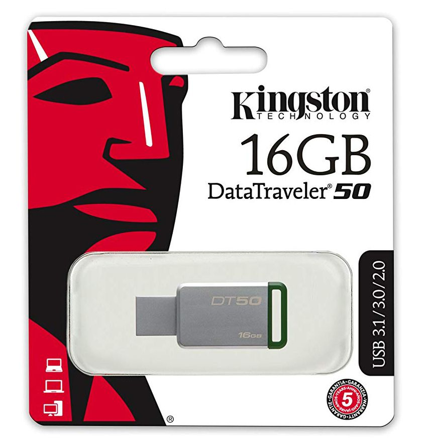 Pendrive Kingston Datatraveler50 16gb Usb 3.1/3.0/2.0 - Prata/Verde