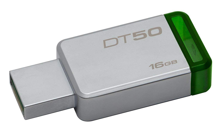 Pendrive Kingston Datatraveler50 16gb Usb 3.1/3.0/2.0 - Prata/Verde