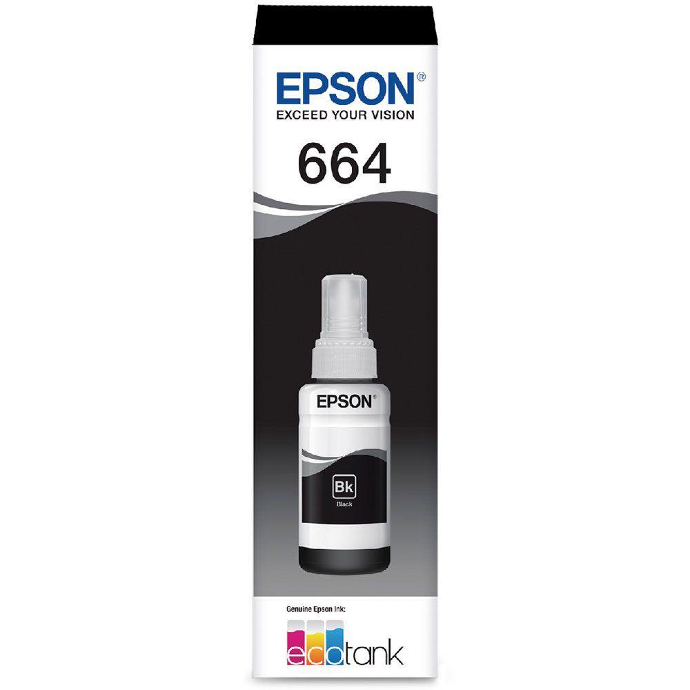 Refil de Tinta Epson T664 Preto 70ml Original