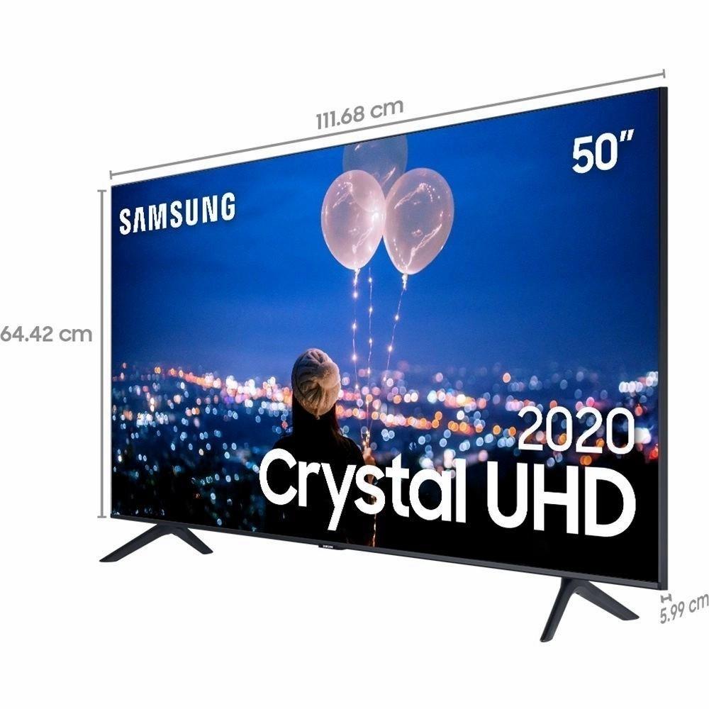 """Samsung Smart TV 50"""" Crystal UHD 50TU8000 4K, Wi-fi, Borda Infinita, Alexa built in, Controle Único, Visual Livre de Cabos, Modo Ambiente Foto e Processador Crystal 4K"""
