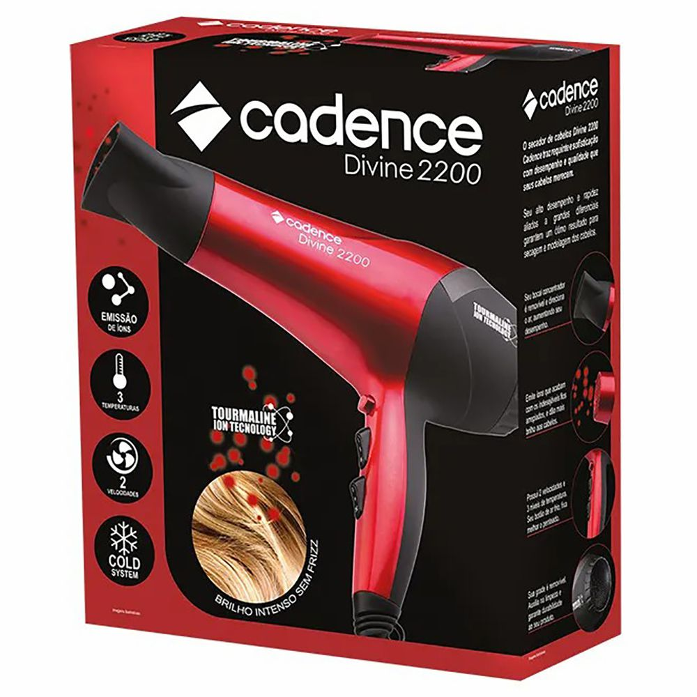 Secador De Cabelos Cadence Divine 2200w Vermelho  220V